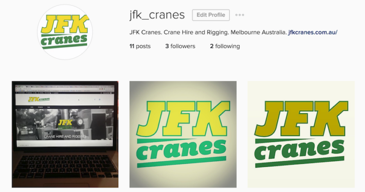 JFK Cranes. Crane Hire and Rigging, Melbourne. Instagram